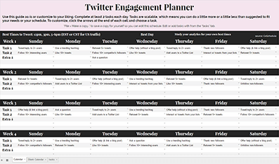 Twitter Engagement Planner Preview