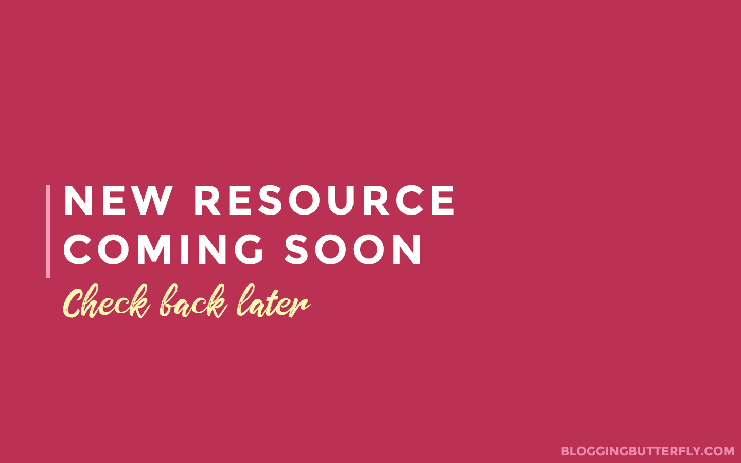 New blogging resource coming soon